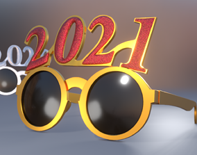 New Year Party Glasses 3D model game-ready