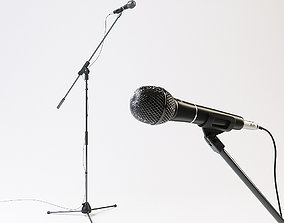3D model Audio-technica PRO61 vocal microphone with stand