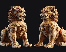 3D print model PBR Chinese guardian lion foo dog