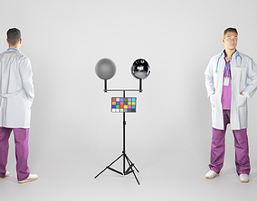 3D model Young male doctor in uniform with stethoscope 219