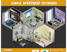 Simple apartment interiors pack 2 3D asset game-ready