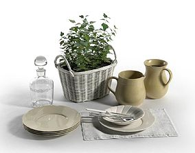 3D model Wicker Plant Basket with Tableware Composition