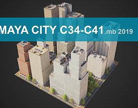 3D asset City District C34-C41 MAYA