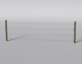 3D asset Barbed Wire Fence