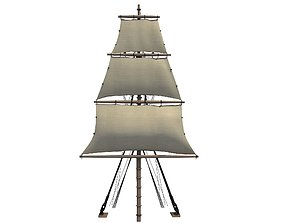 White Sailing Ship Mast 3 3D model