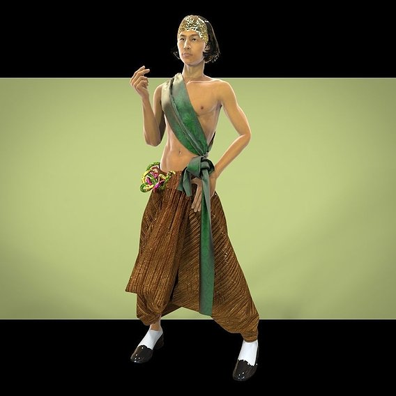 Pants in oriental traditional male clothing