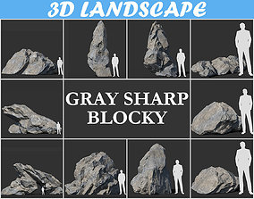 Low poly sharp blocky gray rock formation Pack - 181112 3D