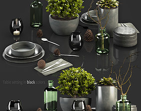 3D Table Setting in black colors