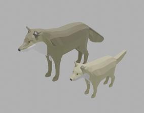 Cartoon Wolf Family 3D model