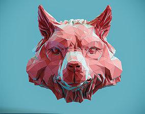 3D print model Wolf Head low poly pendant Papercraft