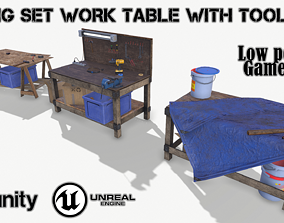 BIG SET WORK TABLE WITH TOOLS 3D model