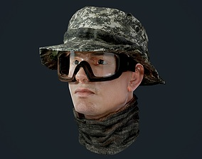 Military Character Male Head Game Ready 3D asset
