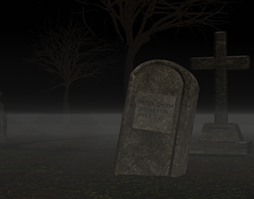 Horror graveyard and gravestones in PBR and low 3D asset 1