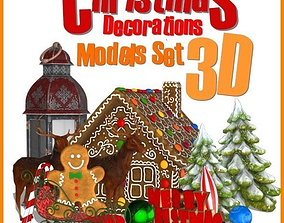 Christmas Decorations Models Set 3D