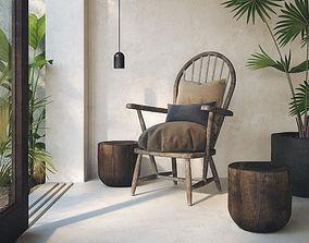Rustic Wooden Armchair 3D model