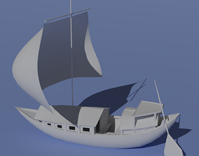 Paltai ancient houseboat of Bangladesh and India 3D asset
