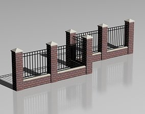 3D model Brick fence 03
