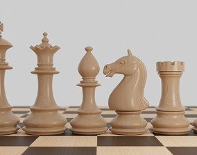 Chess wood pieces 3D king