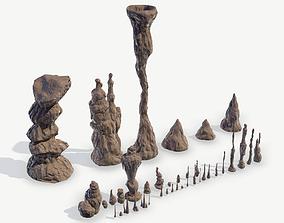 game-ready Stalagmites Models Set
