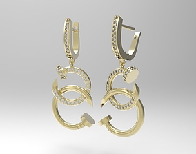 Nail shaped earrings with small diamonds 3D print model