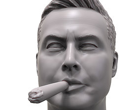 man Elon Musk smokin joint 3d portrait