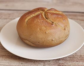 Dark Bread Bun Low-Poly 3D model
