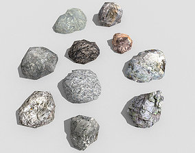 3D model low poly rocks collection 5