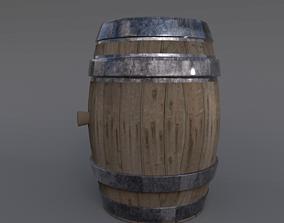 3D model Realistic Wooden Barrel