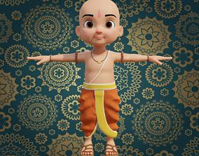Cartoon Indian Pandit 3D asset