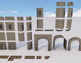 Castle Walls Modular Pack 3D model realtime
