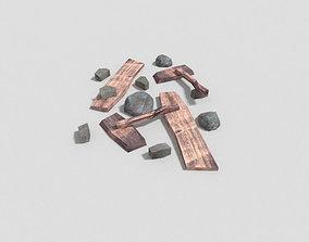3D asset low poly dungeon debris pile