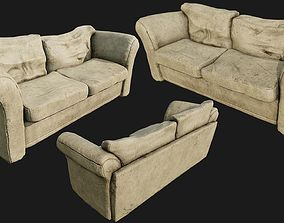 3D asset Old Cotton Couch PBR