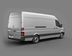 White Mercedes Moving Van 3D model