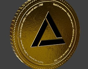 3D model Free Gold coin PBR game-ready asset ultra 1
