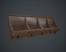 Wooden Wall Hanger PBR Game Ready 3D model