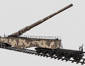 3D asset Railway gun