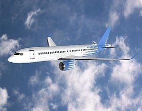 3D asset Bombardier cs300 commercial airplane