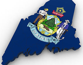 3D Maine Political Map