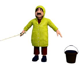 fisherman C cartoon rigged character 3D model