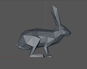low poly 3D model of a rabbit