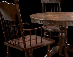 3D asset low-poly Old Wooden Table And Chairs