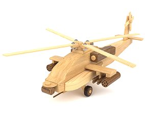 Wooden toy helicopter 01 3D model
