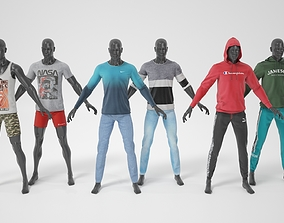 3D model Male mannequin whith clothes A-pose