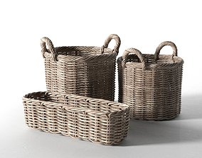 3D model set Wicker Basket Set