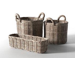 Wicker Basket Set wooden 3D