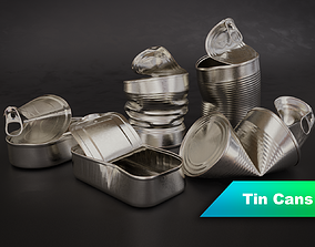 3D model Opened Tin Can Set