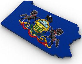 3D model Pennsylvania Political Map