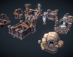 3D asset RTS Human Building Set - Low Poly Hand Painted