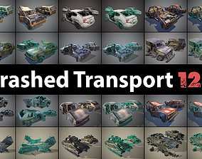 3D asset Pack of wrecked cars