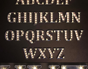 3D model Lighted Metal sign Set 13 Alphabet